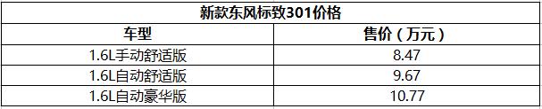 售8.47-10.77万 新款东风标致301上市