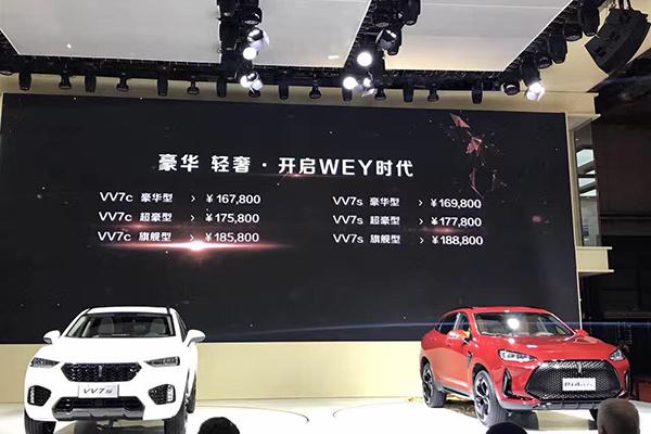 上海车展:WEY VV7系列售16.78万起