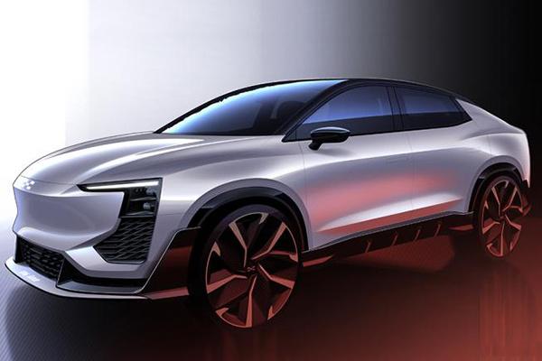 爱驰汽车第二款车型U6 ion设计草图公布,将于3月初亮相