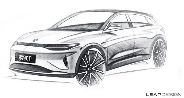零跑汽车首款纯电高端SUV零跑C11草图公布 广州车展首发
