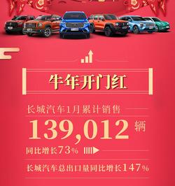 长城公布1月销量:大狗/炮月销过万 坦克300卖了6018台