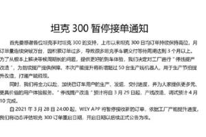 坦克300将暂停接收新订单 全因卖得太好